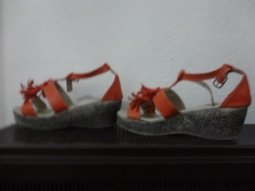 sandalias nena - con plataforma - nro. 33-34 - color coral