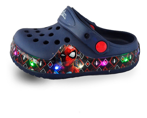 sandalias zuecos clog disney spiderman niño con luz mvdsport