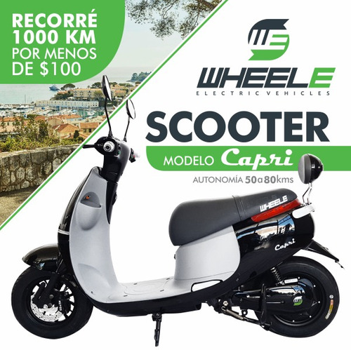 scooter electrica wheele capri/ litio extraible/ sin patente