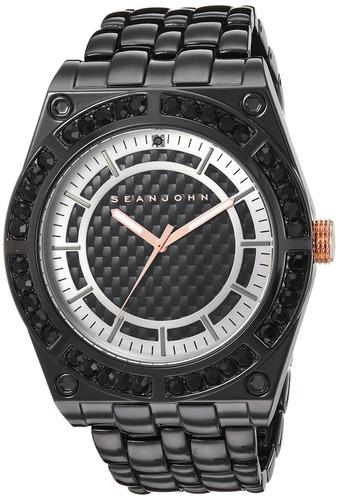 sean john hombres 'black diamond' reloj de cuarzo de meta