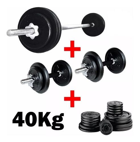set 2 mancuernas + barra 1.5m + 40k hierro elección - el rey