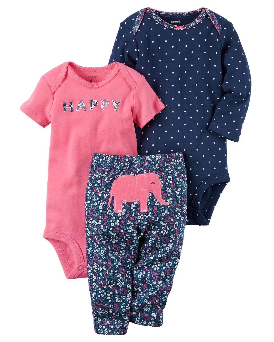 set 3piezas ropa bebe carters niña elefant bodies mvd kids. Cargando zoom. 38095622c28