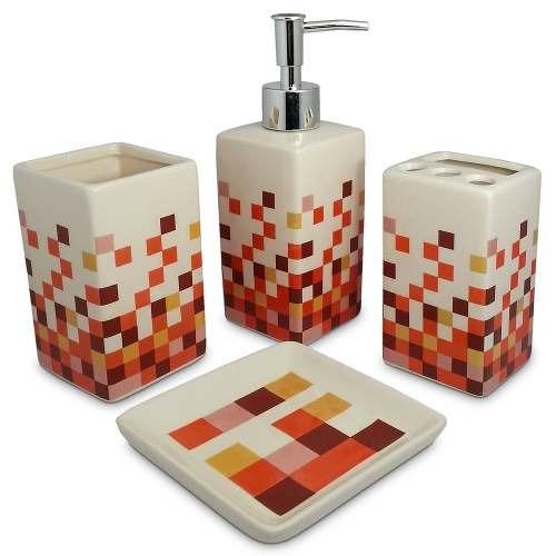 Set 4 Piezas Cerámica Accesorios Baño Mosaico Naranja 81032 -   397 ... 216a17270d90