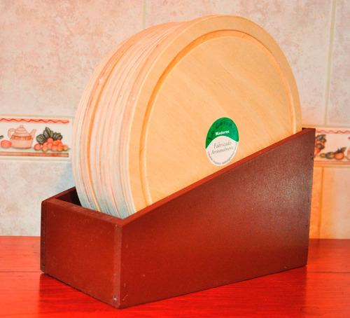 set 6 platos para asado 24 cm. en soporte madera
