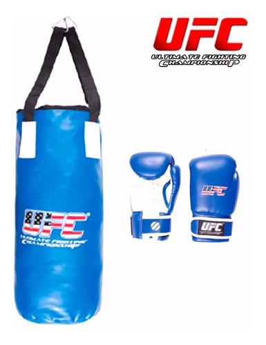set bolsa boxeo c/ relleno+ guantes niño ufc original el rey
