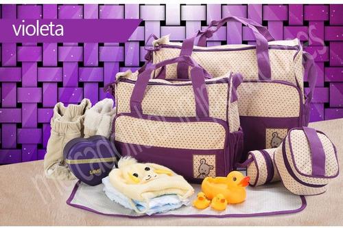 set bolso maternal bebe 5 piezas rojo y varios colores / zoo