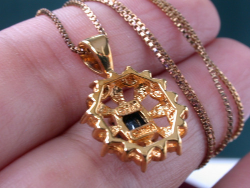 set caravanas dije plata 925 oro diamantes zafiro azul luli