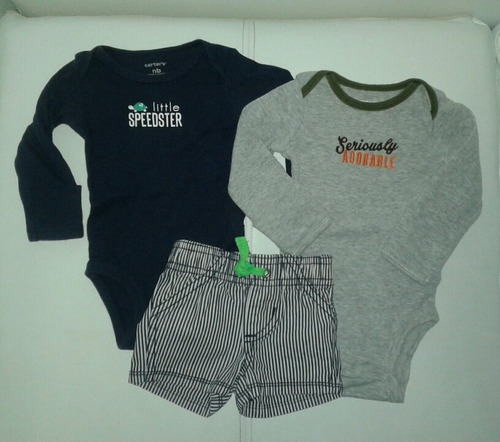 set carters recien nacido ropa bebe body manga larga short