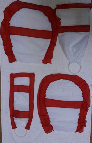 set de baño cubre inodoro bidet + porta rollo + algodonera