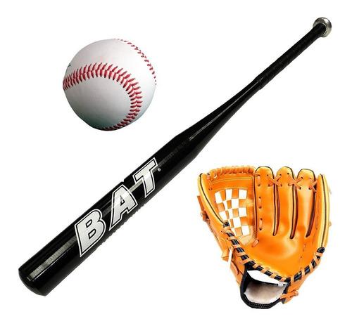 set de baseball bat aluminio + guante+ pelota beisbol el rey