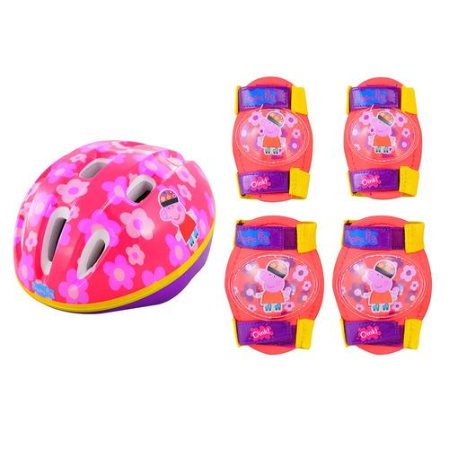 set de casco + protecciones peppa pig