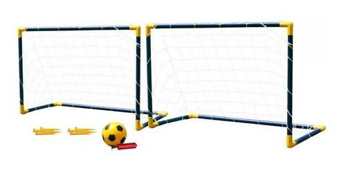 set de fútbol arcos pelota e inflador infantil - garageimpo