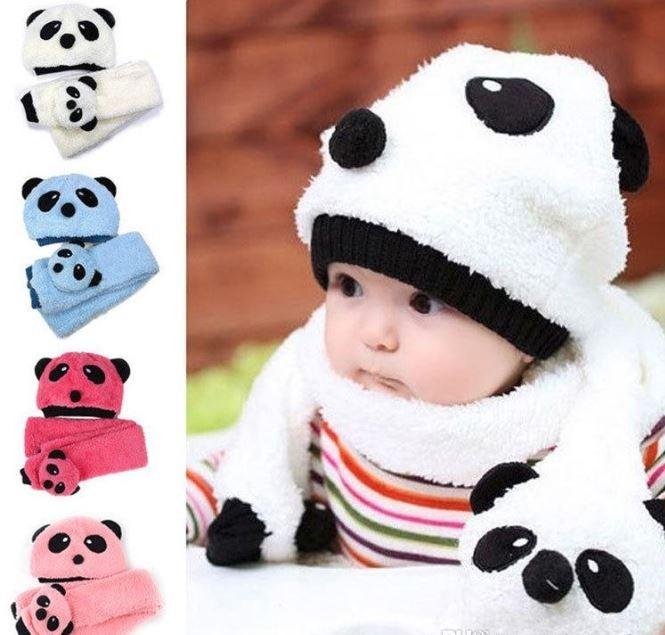 25df44986ec4c Set De Gorro Y Bufanda Oso Panda Para Bebe