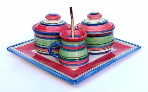 set de mate con bandeja  ceramica artesanal huasimanta