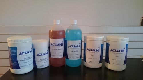 set de productos para limpieza piscinas