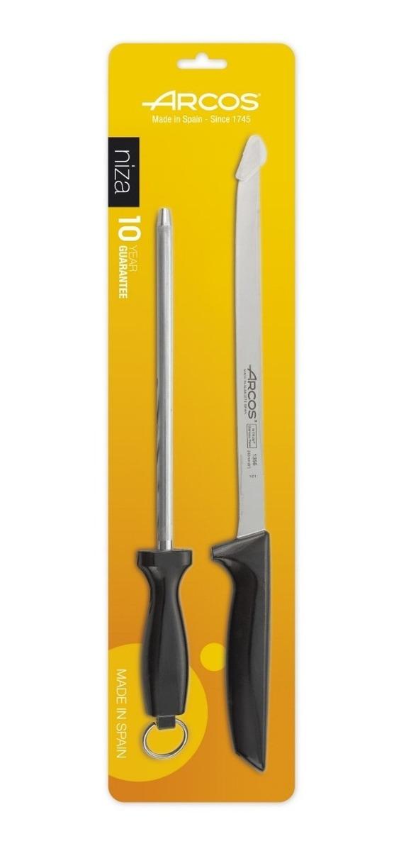 2 pzas CUPERINOX | mango madera | Set de cuchillo jamonero y afilador chaira