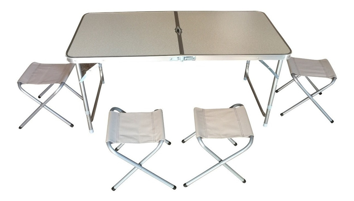 Mesa Plegable Aluminio.Set Mesa Plegable Aluminio 4 Sillas Camping Playa Regalo