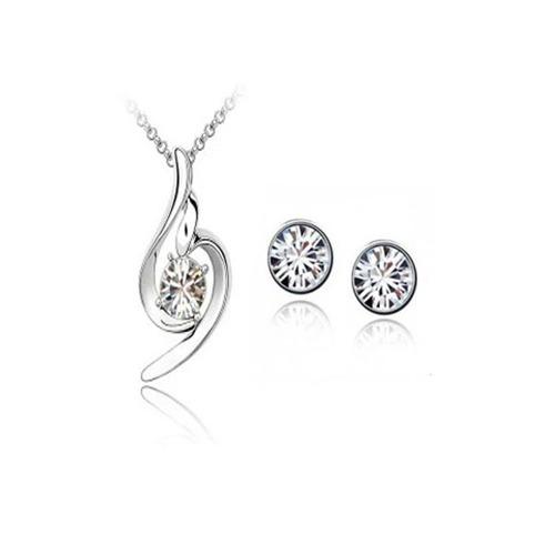 set regalo collar y aretes cristal swarovski certif, platino
