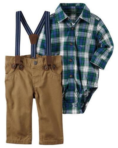 set ropa bebe camisa tiradores 3 pz carters  mvd kids