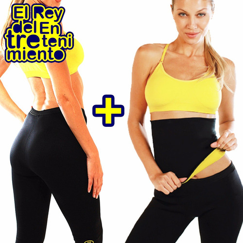 set top + faja + calza hot shapers sudadera fitness - el rey