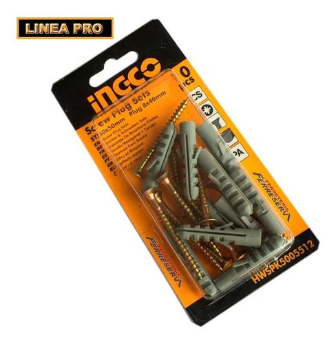 set tornillos con taco 8 mm 10 set x blister ingco