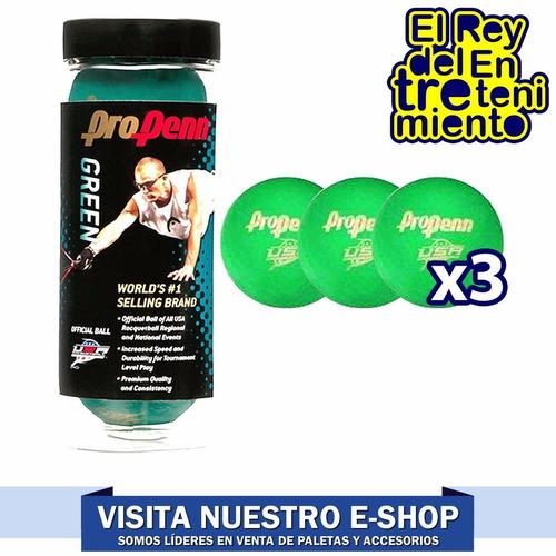 set tubo penn x3 pelotas p/ frontón y paleta colores el rey
