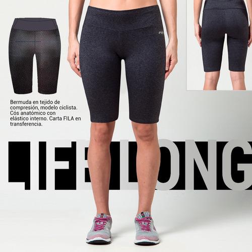 short calza corta fila long life running training de dama