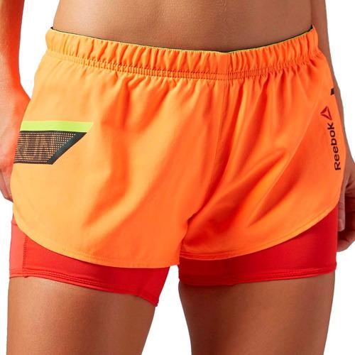short con calza reebok 2 en 1 entrenamiento running de dama