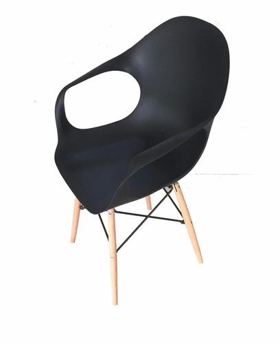 silla comedor silla eames con posabrazo negro