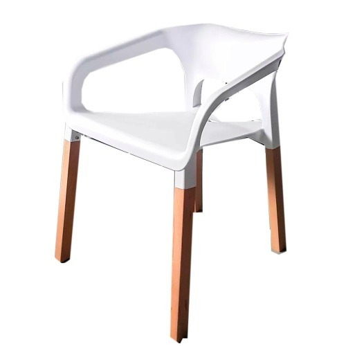 silla con patas de madera asiento blanco carina