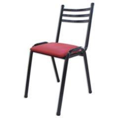 """silla de cano de 1"""" apilable tapizada"""