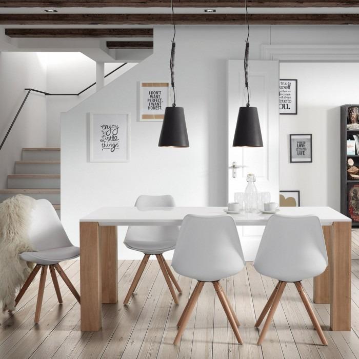 Silla de comedor blanca moderna madera n rdica ralf - Sillas de forja para comedor ...