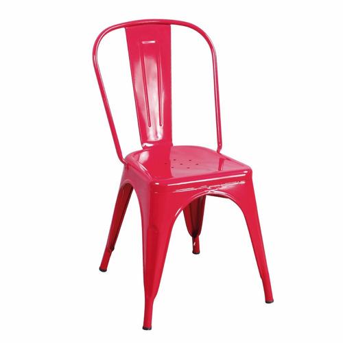 silla de metal tolix roja cocina bar cerámicas castro.