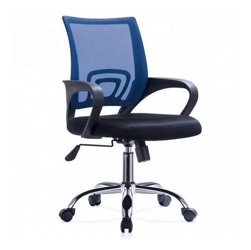 Silla De Oficina Diseño Ezri Mesh Color Azul Con Posabrazos