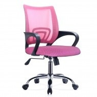silla de oficina mesh con posabrazos rosada mobelstore