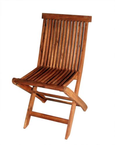 silla plegable sin posabrazos en madera acacia
