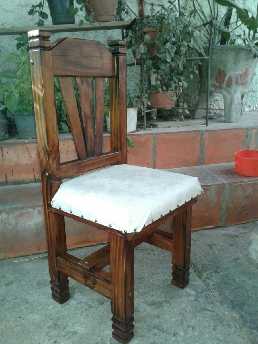 Silla rustica tapizada de madera para comedor en mercado libre - Sillas economicas para comedor ...