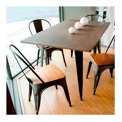 silla tolix metálica vintage asiento en madera super oferta
