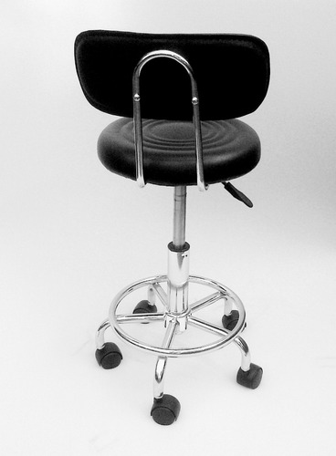 silla/banqueta alta giratoria gas c/respaldo blanca / negra