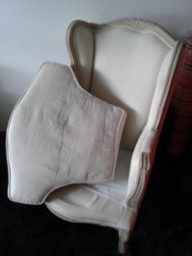 sillón estilo luis xv madera de olmo y lino