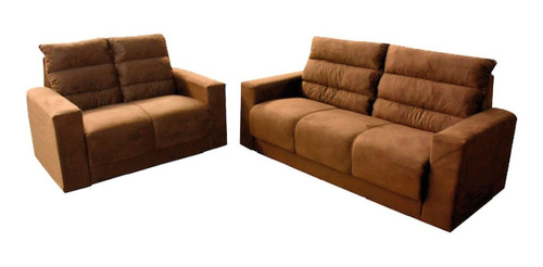 sillon juego de living 3+2 sofas comedor tela marrón stilo