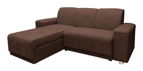 sillon juego de living comedor sofa chaise long marrón plaza