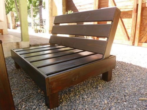 sillón rustico en madera tratada jardin exterior 1,20m largo