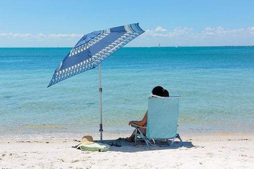 sillón silla de playa plegable celeste reposera muebles web