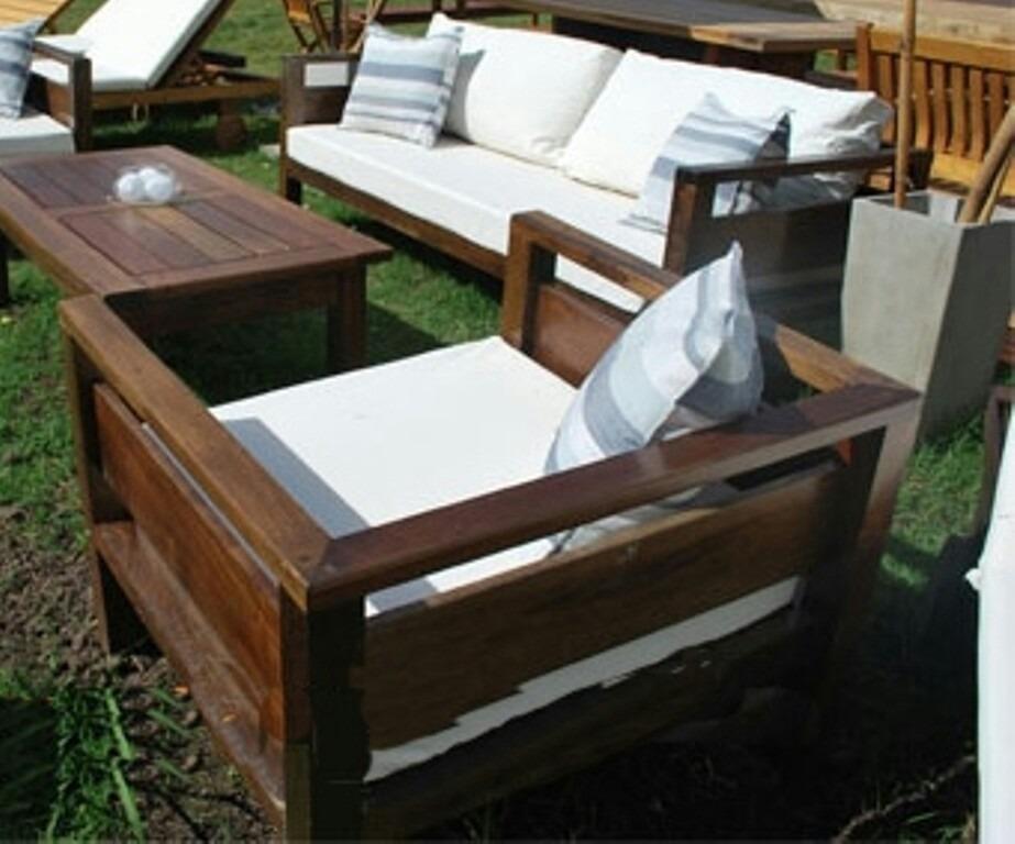 Sillones de jardin de madera con almohadones en telas imperm en mercado libre - Muebles exterior tela nautica ...
