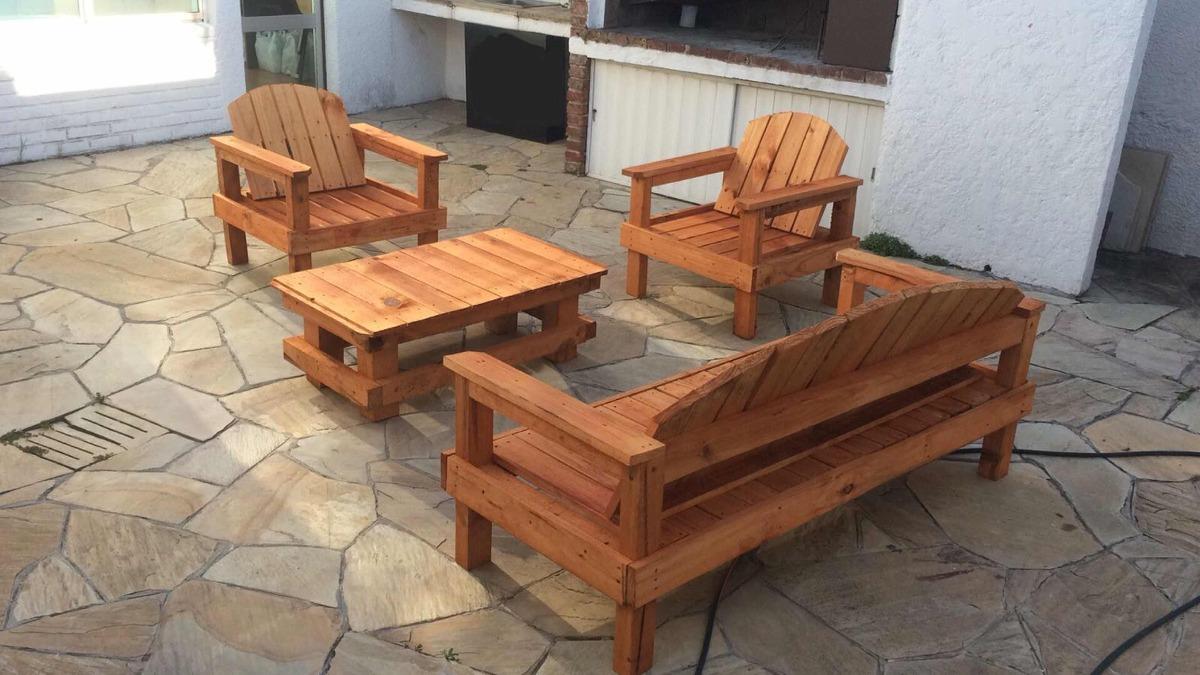 Sillones rusticos de madera en mercado libre for Sillones de jardin de madera