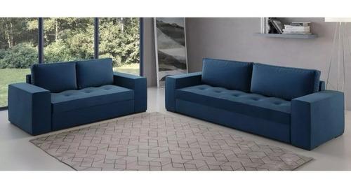 sillones, sofá 3 + 2 apolo en tela azul