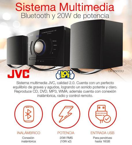 sistema de audio 2.0 jvc bt 20w rms dvd usb fm oferta loi