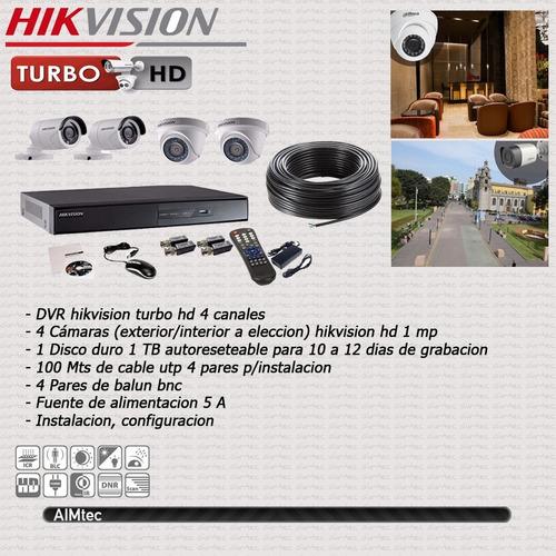 sistema de vigilancia autoinstalable hikvision (4 cam hd )