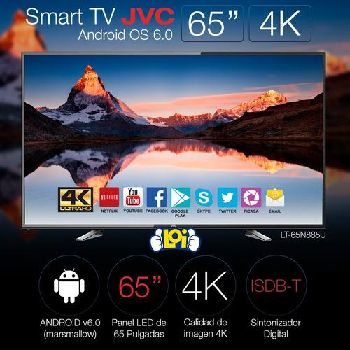 smart tv 65' 4k ultra hd jvc quad core gtía 3 años loi